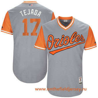 Men's Baltimore Orioles Ruben Tejada -Tejada- Majestic Gray 2017 Little League World Series Players Weekend Stitched Nickname Jersey