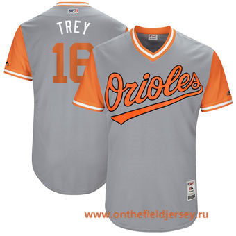 Men's Baltimore Orioles Trey Mancini -Trey- Majestic Gray 2017 Little League World Series Players Weekend Stitched Nickname Jersey