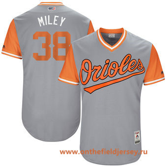 Men's Baltimore Orioles Wade Miley -Miley- Majestic Gray 2017 Little League World Series Players Weekend Stitched Nickname Jersey