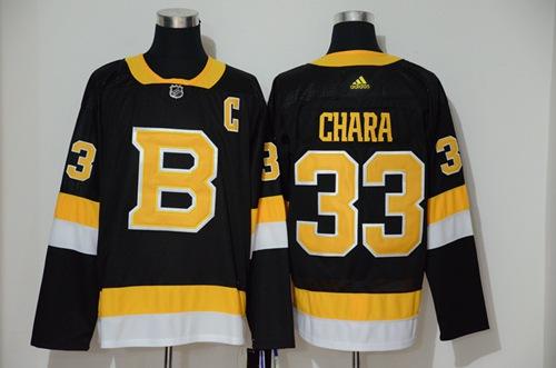 Men's Boston Bruins #33 Zdeno Chara Black Throwback Adidas Stitched Hockey Jersey
