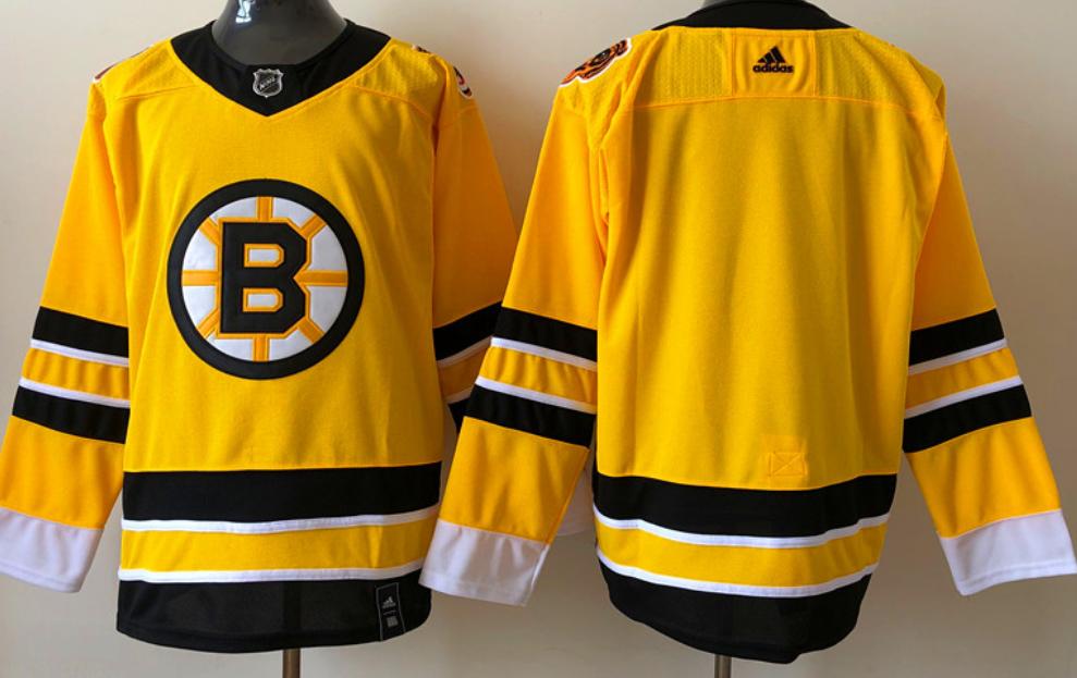 Men's Boston Bruins Blank Yellow 2021 Reverse Retro Alternate Adidas Stitched NHL Jersey