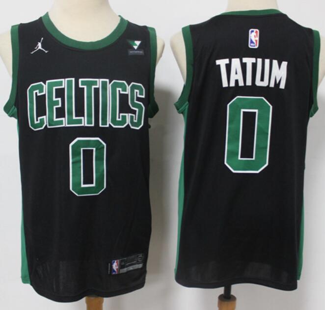 Men's Boston Celtics #0 Jayson Tatum Black 2021 Brand Jordan Swingman Jersey With the Sponsor Logo