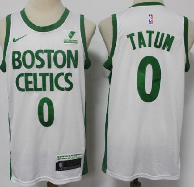 Men's Boston Celtics #0 Jayson Tatum White 2021 Nike City Edition Swingman Stitched NBA Jersey with the Sponsor Logo
