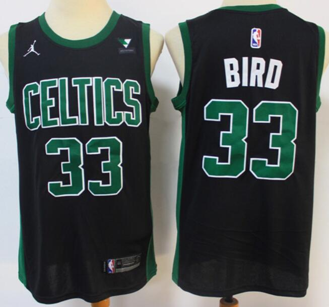 Men's Boston Celtics #33 Larry Bird Black 2021 Brand Jordan Swingman Jersey With The Sponsor Logo