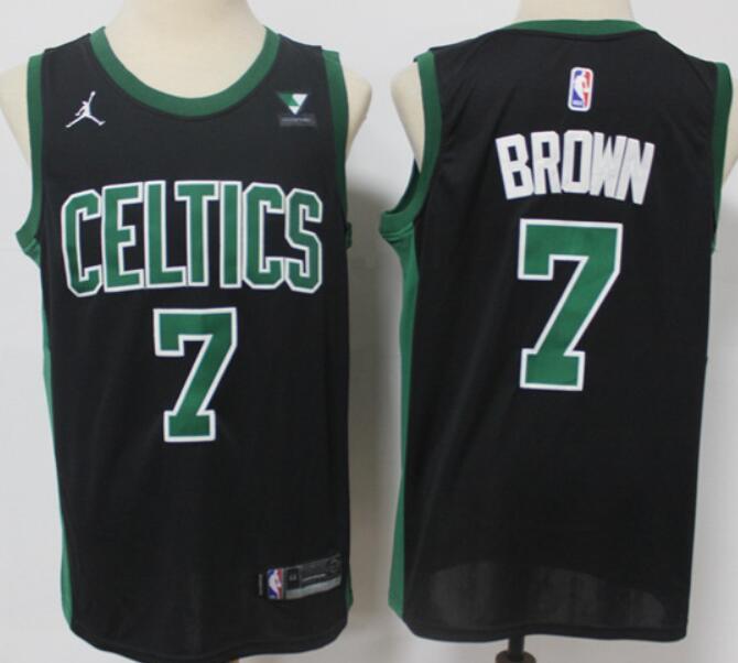 Men's Boston Celtics #7 Jaylen Brown Black 2021 Brand Jordan Swingman Jersey With the Sponsor Logo