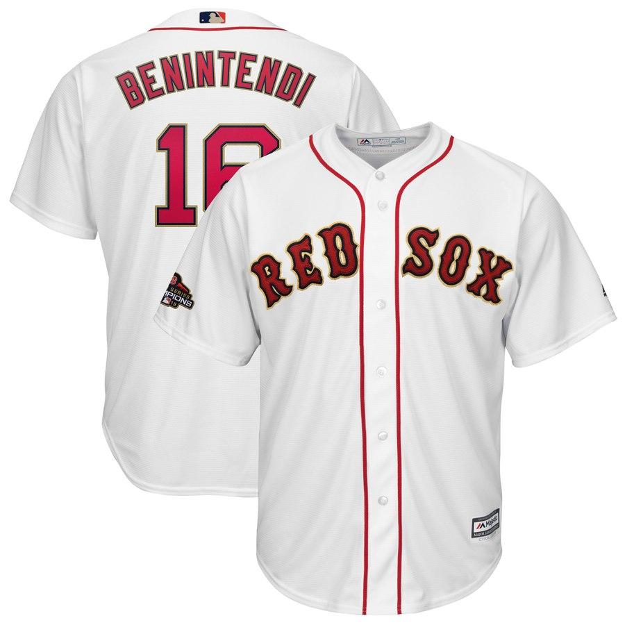 Men's Boston Red Sox #16 Andrew Benintendi Majestic White 2019 Gold Program Cool Base Player Jersey