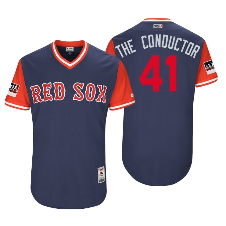 Men's Boston Red Sox Authentic Chris Sale #41 Navy 2018 LLWS Players Weekend The Conductor Jersey