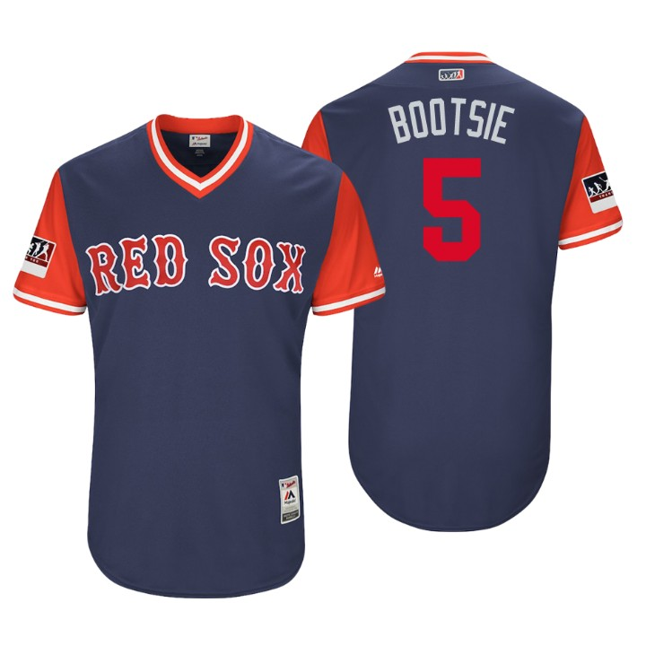 Men's Boston Red Sox Authentic Ian Kinsler #5 Navy 2018 LLWS Players Weekend Bootsie Jersey