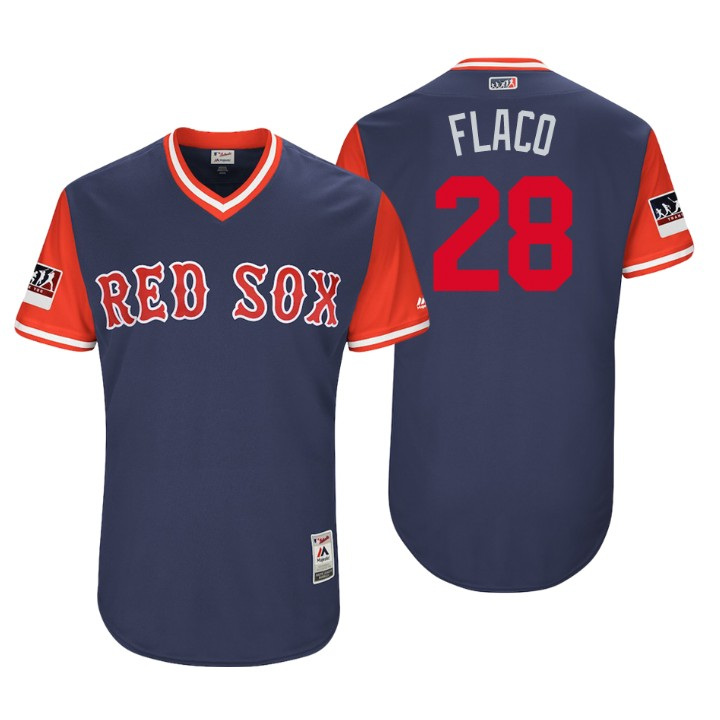Men's Boston Red Sox Authentic J.D. Martinez #28 Navy 2018 LLWS Players Weekend Flaco Jersey