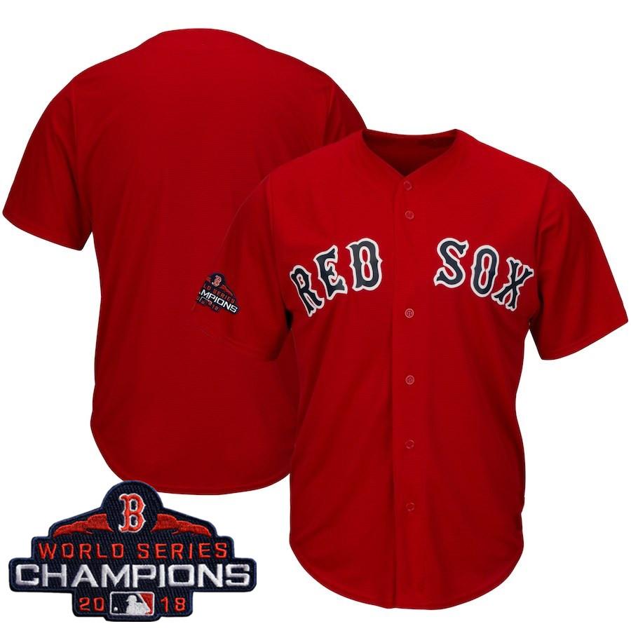 Men's Boston Red Sox Blank Majestic Scarlet 2018 World Series Champions Team Logo Jersey
