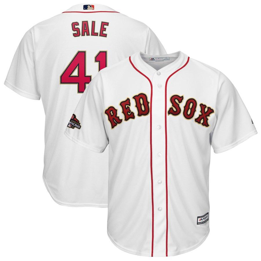 Men's Boston Red Sox #41 Chris Sale Majestic White 2019 Gold Program Cool Base Player Jersey