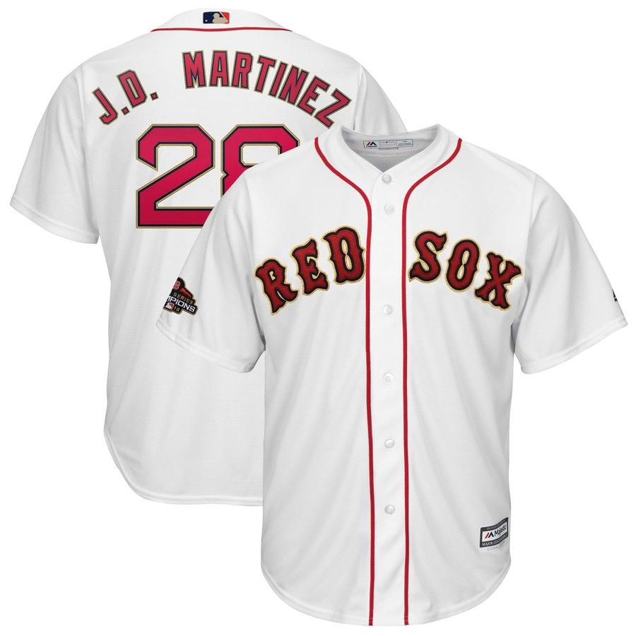 Men's Boston Red Sox #28 J.D. Martinez Majestic White 2019 Gold Program Cool Base Player Jersey