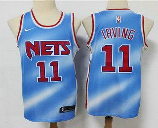 Men's Brooklyn Nets #11 Kyrie Irving Blue 2020-21 Hardwood Classics Stitched NBA Jersey