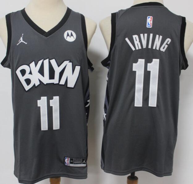 Men's Brooklyn Nets #11 Kyrie Irving Dark Gray 2021 Brand Jordan Swingman Jersey With the Sponsor Logo