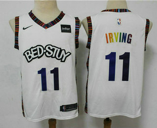 Men's Brooklyn Nets #11 Kyrie Irving NEW White Fashion Name 2020 City Edition Swingman Stitched NBA Jersey