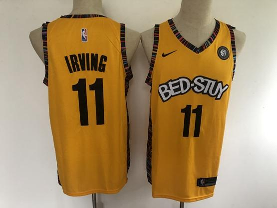 Men's Brooklyn Nets #11 Kyrie Irving Yellow Bed-stuy 2020 Music Edition Nike Swingman Jersey