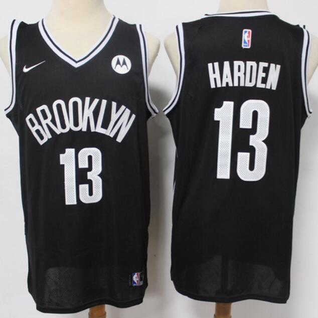 Men's Brooklyn Nets #13 James Harden Black Nike Swingman Stitched NBA Jersey with the Sponsor Logo