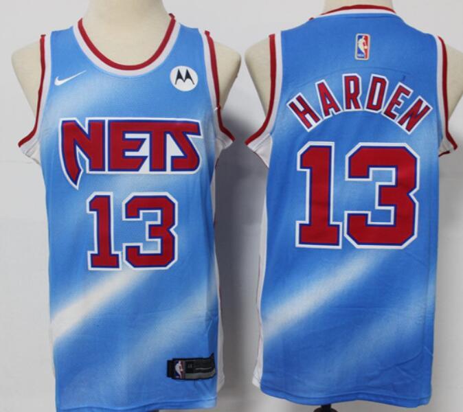 Men's Brooklyn Nets #13 James Harden Blue 2020-21 Hardwood Classics Stitched NBA Jersey