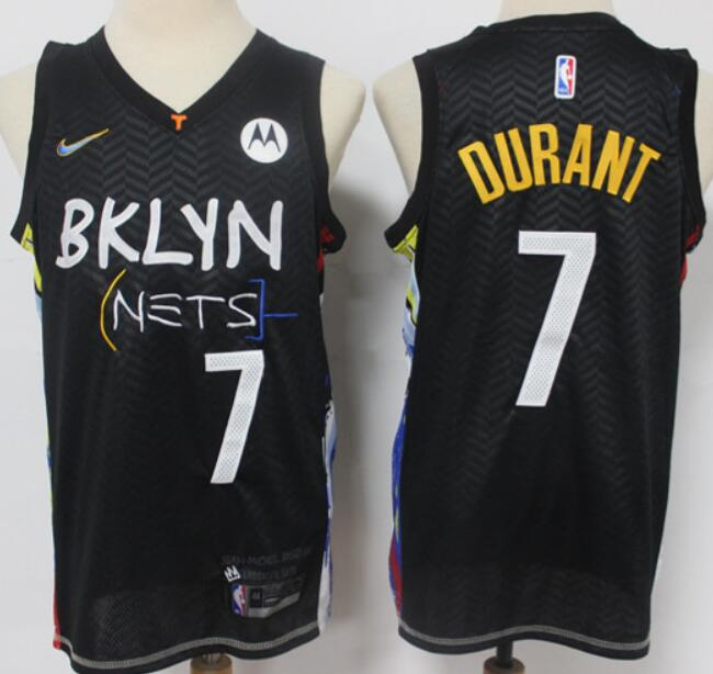 Men's Brooklyn Nets #7 Kevin Durant Black 2021 City Edition Swingman Stitched NBA Jersey with the Sponsor Logo