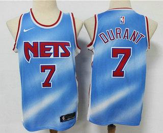 Men's Brooklyn Nets #7 Kevin Durant Blue 2020-21 Hardwood Classics Stitched NBA Jersey