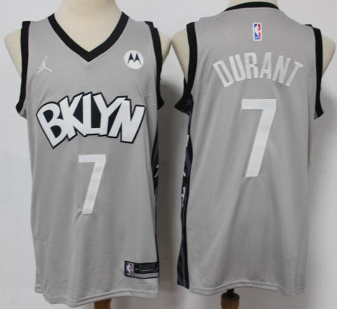 Men's Brooklyn Nets #7 Kevin Durant Light Gray 2021 Brand Jordan Swingman Jersey With the Sponsor Logo
