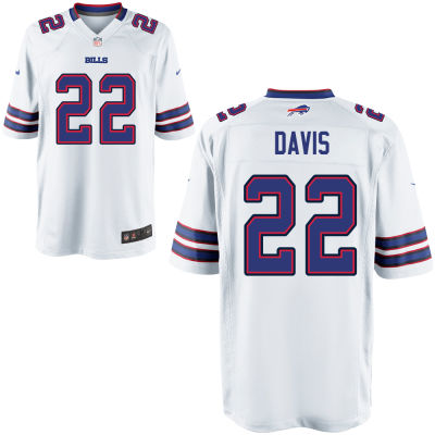 Men's Buffalo Bills #22 Vontae Davis White Road Stitched NFL Nike Game Jersey