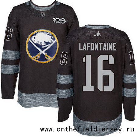 Men's Buffalo Sabres #16 Pat Lafontaine Black 100th Anniversary Stitched NHL 2017 adidas Hockey Jersey