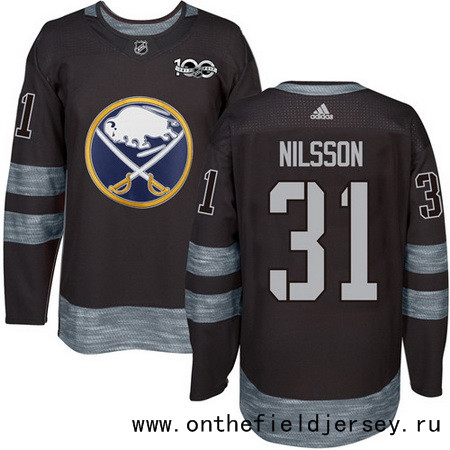 Men's Buffalo Sabres #31 Anders Nilsson Black 100th Anniversary Stitched NHL 2017 adidas Hockey Jersey