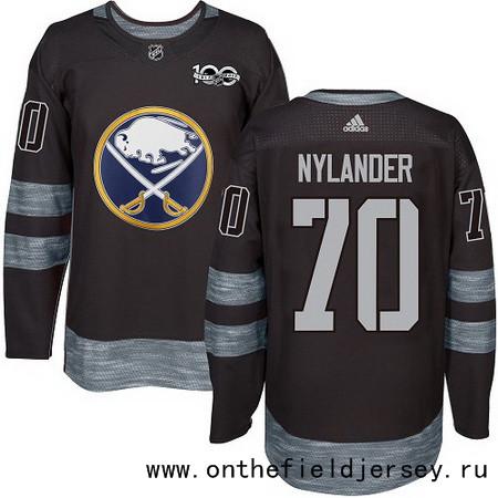 Men's Buffalo Sabres #70 Alexander Nylander Black 100th Anniversary Stitched NHL 2017 adidas Hockey Jersey