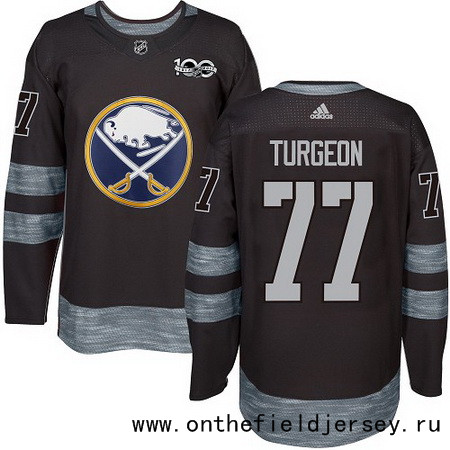 Men's Buffalo Sabres #77 Pierre Turgeon Black 100th Anniversary Stitched NHL 2017 adidas Hockey Jersey