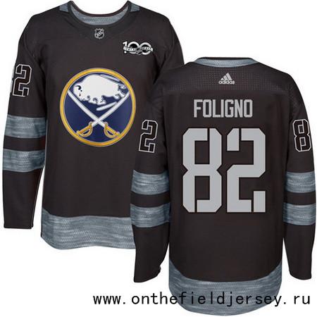 Men's Buffalo Sabres #82 Marcus Foligno Black 100th Anniversary Stitched NHL 2017 adidas Hockey Jersey