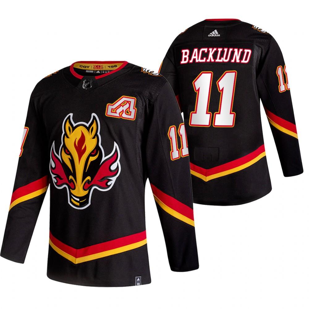 Men's Calgary Flames #11 Mikael Backlund Black Adidas 2020-21 Reverse Retro Alternate Stitched NHL Jersey