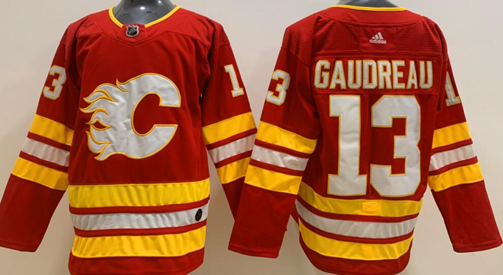 Men's Calgary Flames #13 Johnny Gaudreau Home Red 2020-21 Adidas Stitched NHL Jersey