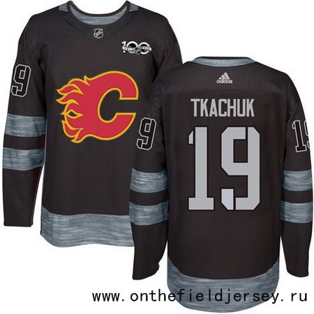 Men's Calgary Flames #19 Matthew Tkachuk Black 100th Anniversary Stitched NHL 2017 adidas Hockey Jersey