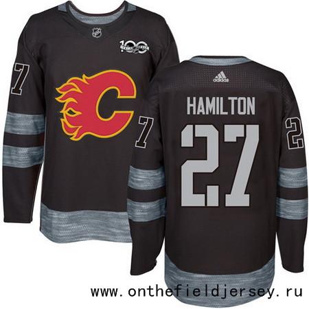 Men's Calgary Flames #27 Dougie Hamilton Black 100th Anniversary Stitched NHL 2017 adidas Hockey Jersey