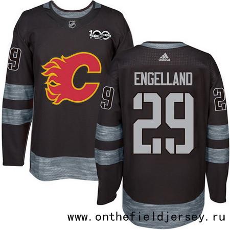 Men's Calgary Flames #29 Deryk Engelland Black 100th Anniversary Stitched NHL 2017 adidas Hockey Jersey