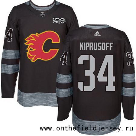 Men's Calgary Flames #34 Miikka Kiprusoff Black 100th Anniversary Stitched NHL 2017 adidas Hockey Jersey