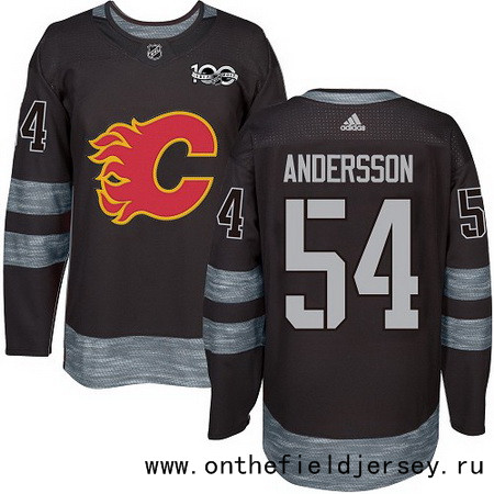 Men's Calgary Flames #54 Rasmus Andersson Black 100th Anniversary Stitched NHL 2017 adidas Hockey Jersey