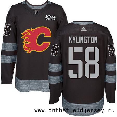 Men's Calgary Flames #58 Oliver Kylington Black 100th Anniversary Stitched NHL 2017 adidas Hockey Jersey