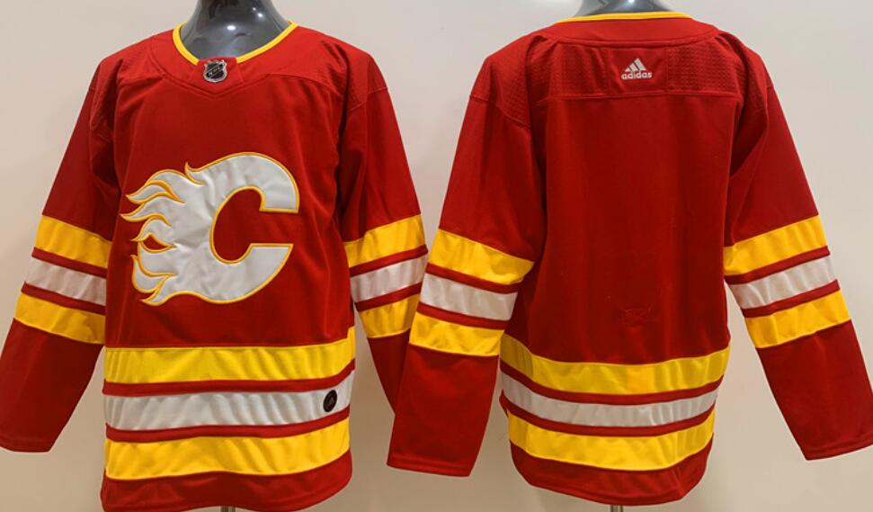 Men's Calgary Flames Blank Home Red 2020-21 Adidas Stitched NHL Jersey