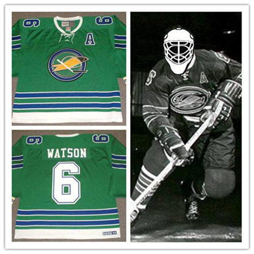 Men's California Golden Seals #6 BRYAN WATSON 1968 CCM Vintage Throwback Home Green Jersey