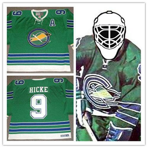Men's California Golden Seals #9 BILL HICKE 1967 CCM Vintage Throwback Home Green Jersey