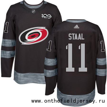 Men's Carolina Hurricanes #11 Jordan Staal Black 100th Anniversary Stitched NHL 2017 adidas Hockey Jersey