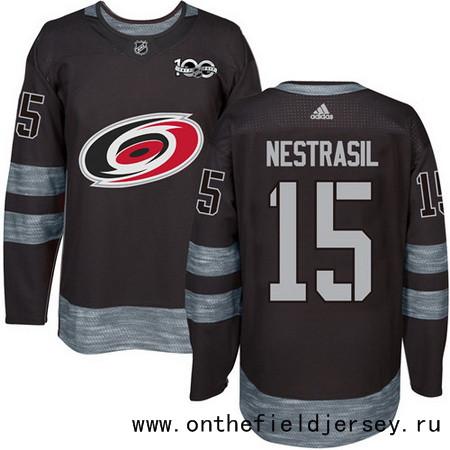 Men's Carolina Hurricanes #15 Andrej Nestrasil Black 100th Anniversary Stitched NHL 2017 adidas Hockey Jersey