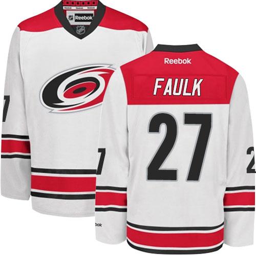 Men's Carolina Hurricanes #27 Justin Faulk Reebok Away White Premier Jersey