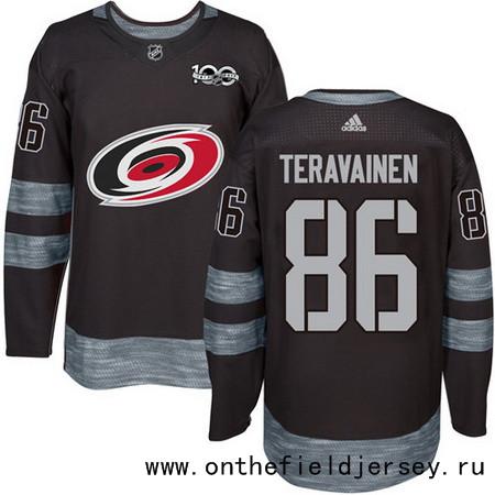 Men's Carolina Hurricanes #86 Teuvo Teravainen Black 100th Anniversary Stitched NHL 2017 adidas Hockey Jersey