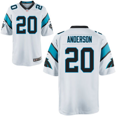 Men's Carolina Panthers #20 C. J. Anderson White Road Stitched NFL Nike Game Jersey