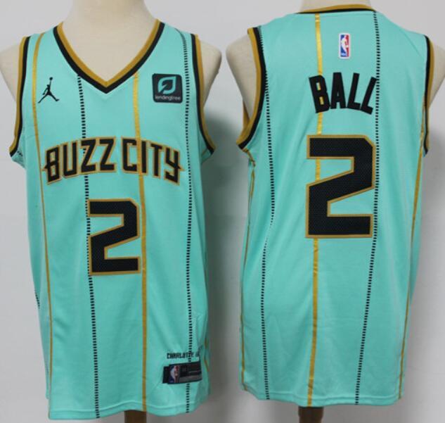 Men's Charlotte Hornets #2 LaMelo Ball Green Buzz-City 2021 Brand Jordan City Edition Swingman Jersey With The Sponsor Logo