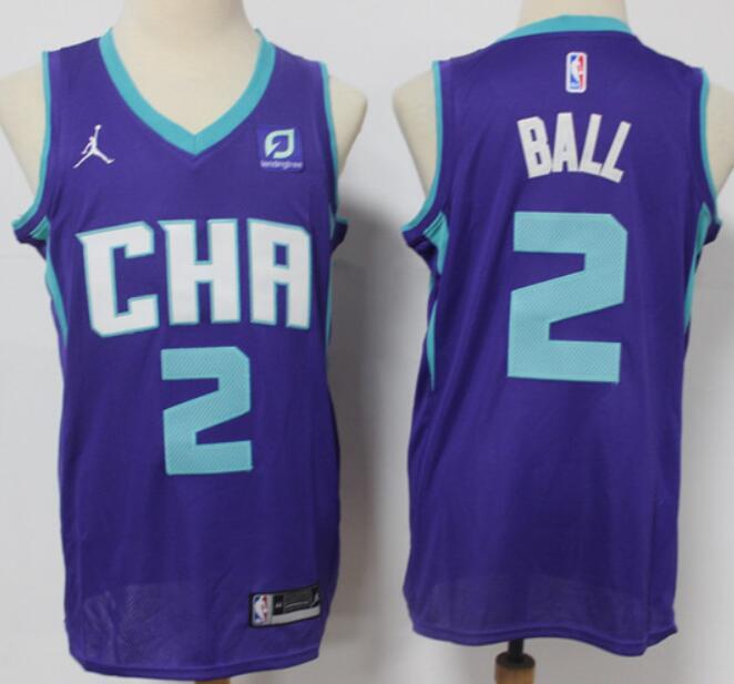 Men's Charlotte Hornets #2 LaMelo Ball Purple 2021 Brand Jordan Swingman Stitched NBA Jersey With The Sponsor Logo