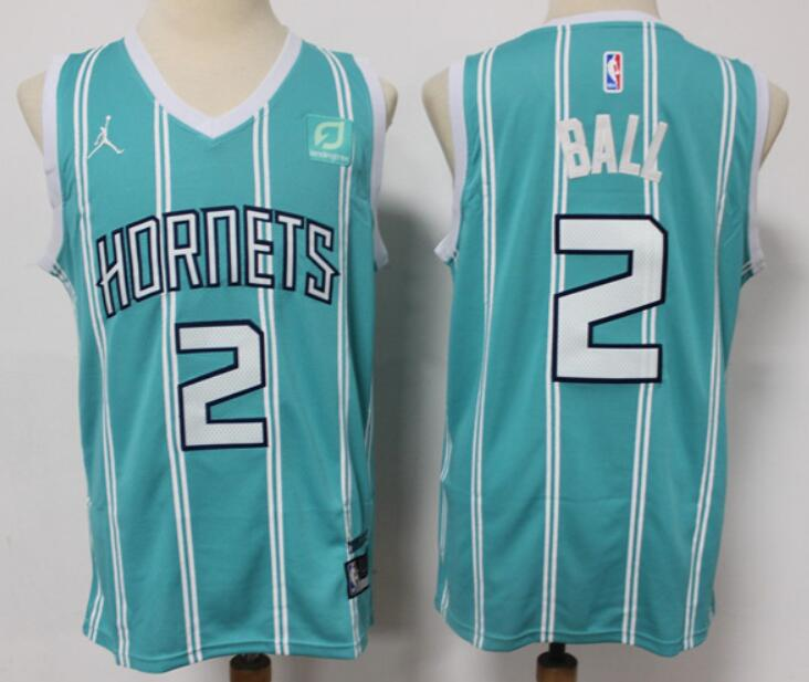 Men's Charlotte Hornets #2 LaMelo Ball Teal Green 2021 Brand Jordan City Edition Swingman Jersey With The Sponsor Logo